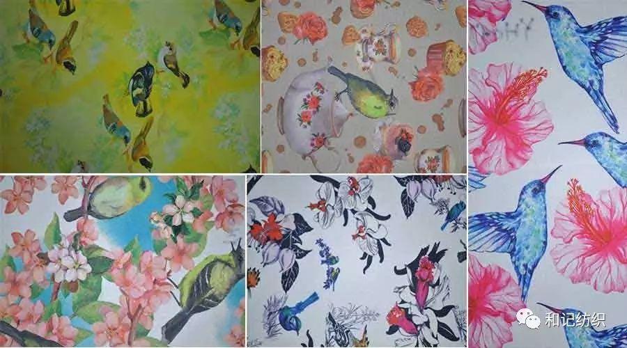 花鸟图案系列数码印花布 背包户外鞋材面料 印花布厂家 可定制