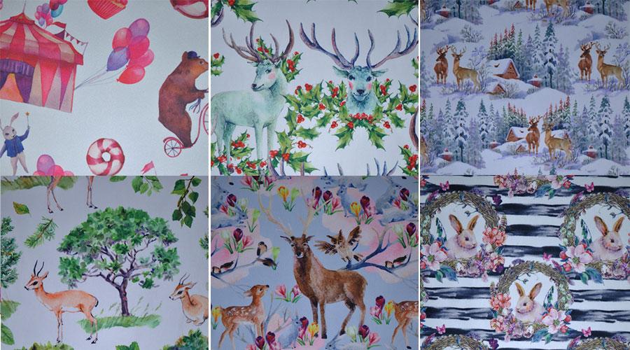 可爱动物图案系列数码印花布 背包户外面料 印花布厂家 可定制